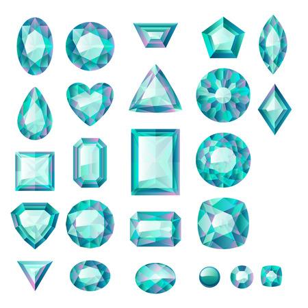 emerald gemstone: Set of realistic green jewels. Colorful gemstones. Emeralds isolated on white background.