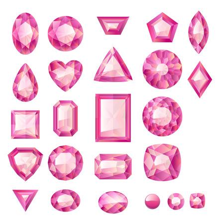 Set van realistische roze juwelen. Kleurrijke edelstenen. Robijnen op een witte achtergrond.