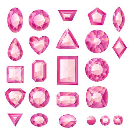 Set of realistic pink jewels. Colorful gemstones. Rubies isolated on white background.