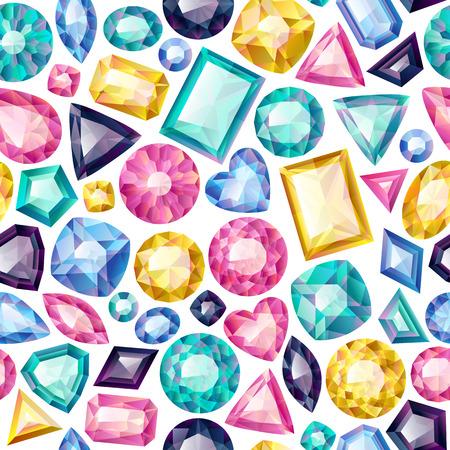 emerald gemstone: Seamless colorful gemstones background on white. Jewels pattern.