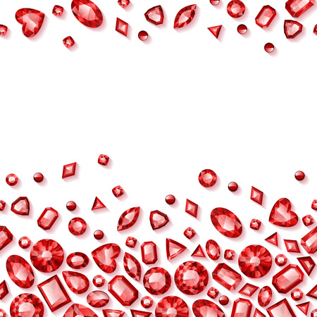 Red jewels seamless horizontal background. Scattered rubies.