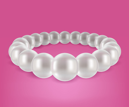 Round pearls bracelet. Jewelry design. Vector