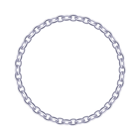 Thin silver chain - round frame. Jewelry decoration. Illustration
