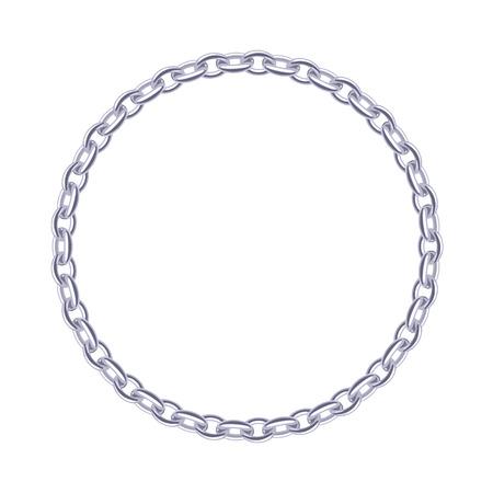 Thin silver chain - round frame. Jewelry decoration. Vettoriali