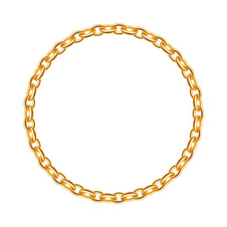 Thin golden chain - round frame. Jewelry decoration.