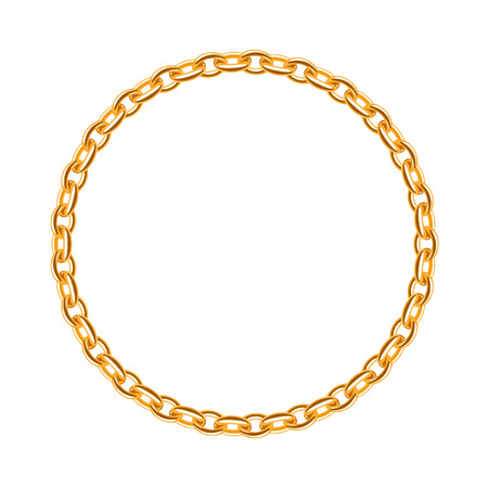 gold chain: Thin golden chain - round frame. Jewelry decoration.