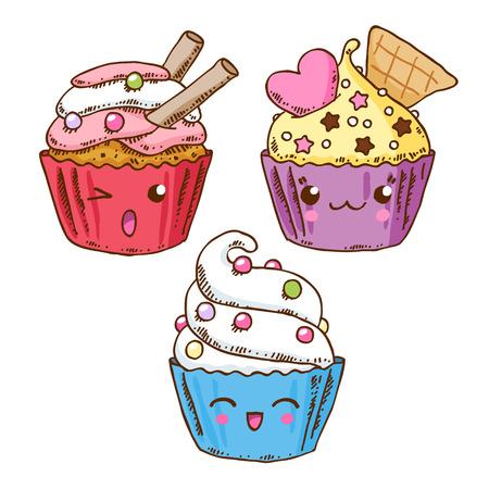Group of three cute kawaii donuts. Good for t-shirt design. Иллюстрация