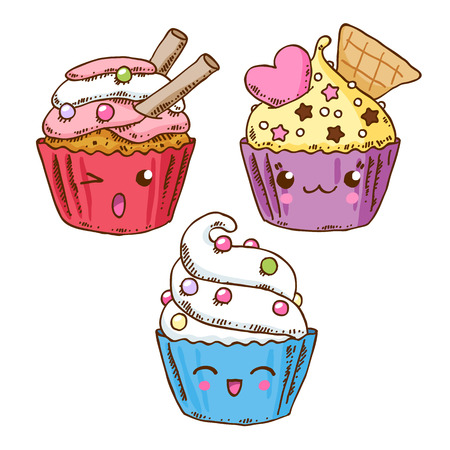 Group of three cute kawaii donuts. Good for t-shirt design. Illustration