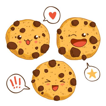 galleta de chocolate: Grupo de tres galletas del kawaii lindo con chips chocolste. Bueno para el dise�o de la camiseta. Vectores