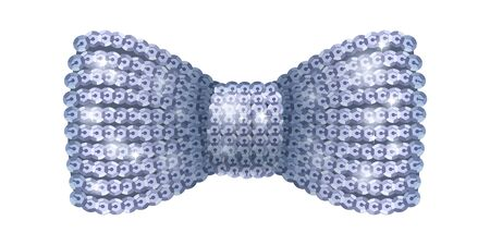formal wear: Silver sequins bow tie. Glamourous glitter formal wear. Decoration element.