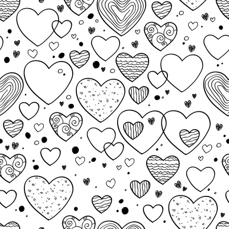doodle art: Hearts and dots doodle seamless pattern. Black and white background. Valentines day design.