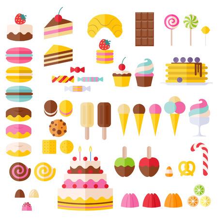 caramelos: Conjunto de iconos de los alimentos dulces. Caramelo, dulces, lollipop, pasteles, donas, macarrones, helados, gelatinas.
