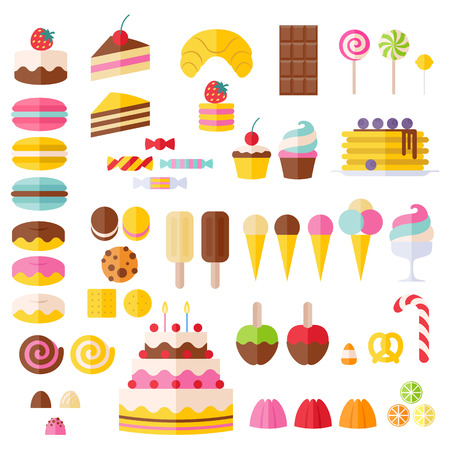 birthday cakes: Set of sweet food icons. Candy, sweets, lollipop, cake, donut, macaroon, ice cream, jelly.