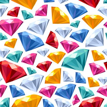 emerald gemstone: Seamless colorful diamond gemstones background on white. Jewels pattern. Illustration
