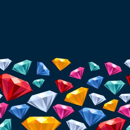 sapphire gemstone: Seamless horizontal gemstones background on dark. Jewels pattern.