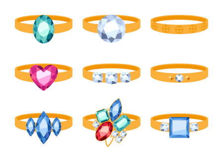 beautyful: Set of beautyful golden rings with gemstones. Cartoon style. Jewelry collection.