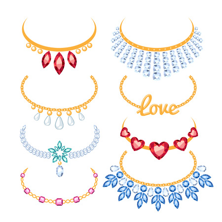 Set of beautyful golden necklaces with gemstones. Cartoon style. Jewelry collection.