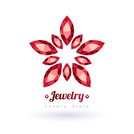 diamond jewelry: Red gemstones jewelry symbol. Star or flower shape. Rubies on white background.