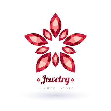 ruby gemstone: Red gemstones jewelry symbol. Star or flower shape. Rubies on white background.