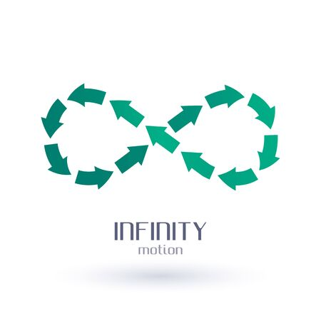 infinity sign: Infinity sign of green arrows. Ecology recycling symbol. Environment protection.