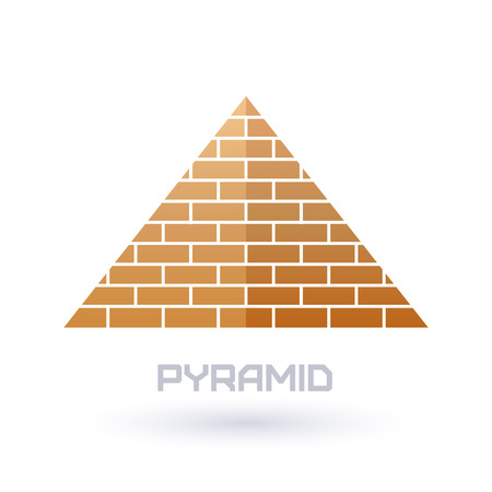 pyramid of the sun: Pyramid icon. Flat style. Ancient history symbol. Illustration