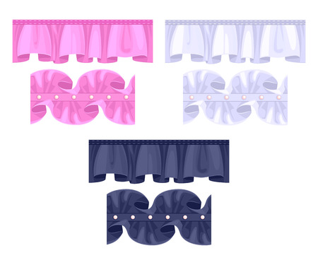 frill: Set or frill ribbons borders. Colorful ruffles vector brushes - pink, black, white. Fashion elements.