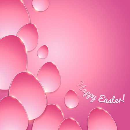 pink banner: Simple shiny flat eggs on gradient background - pinkcolor. Good for Easter design.