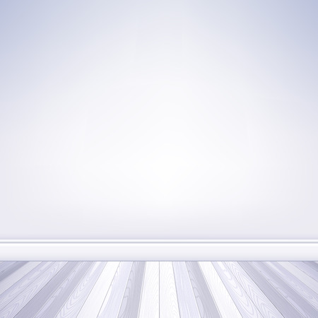 plinth: Realistic empty room white wall and white wooden floor with plinth template. House interior.