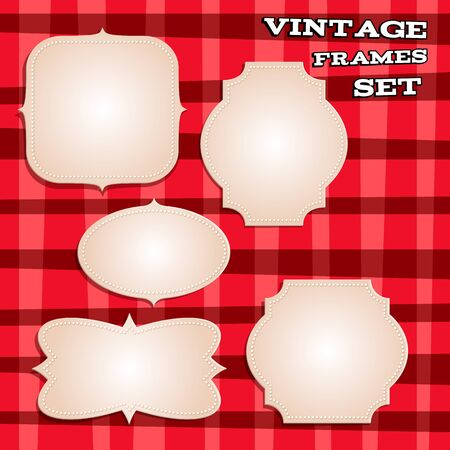 red plaid: Set of old vintage classic frames on red plaid background. Retro design.