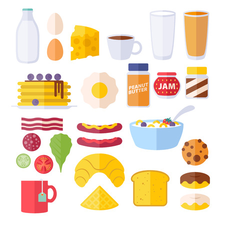 cheese cake: Set of colorful breakfast icons. Morning food symbols.