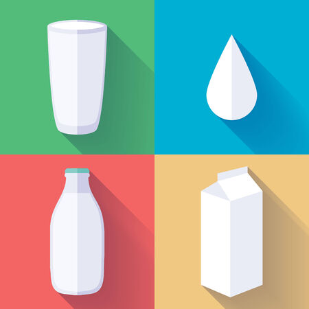 Milk icons set. Flate simple style. Milk bottle, glass, box pack and drop. Vector