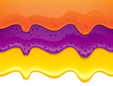 Flowing jam and honey drips - seamless horizontal borders set. Orange and blueberry jam. Ilustração