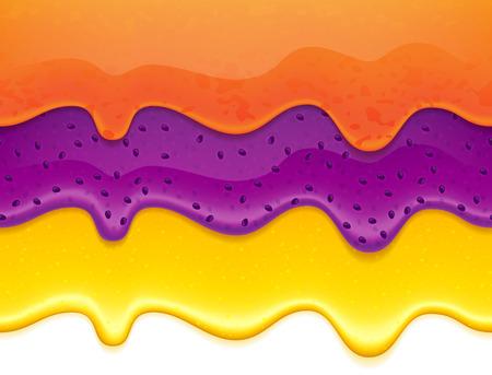 Flowing jam and honey drips - seamless horizontal borders set. Orange and blueberry jam. Illustration