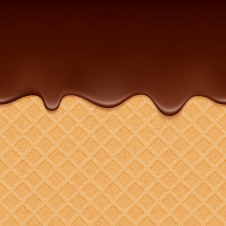 chocolate splash: Wafer and flowing chocolate - vector background. Sweet texture. Soft icing.