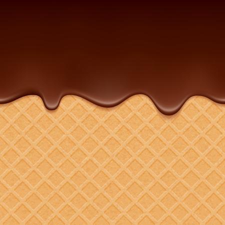 chocolate melt: Wafer e cioccolata che scorre - sfondo vettoriale. Consistenza dolce. Glassa morbida. Vettoriali