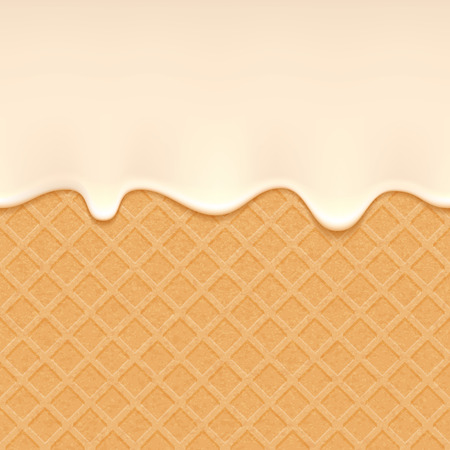 Wafer and flowing white chocolate, cream or yogurt - vector background. Sweet texture. Soft icing.