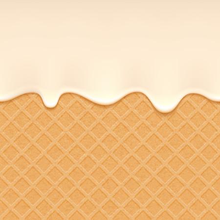 Wafer und fließende weiße Schokolade, Sahne oder Joghurt - Vektor-Hintergrund. Süß Textur. Weiche Zuckerguss. Vektorgrafik