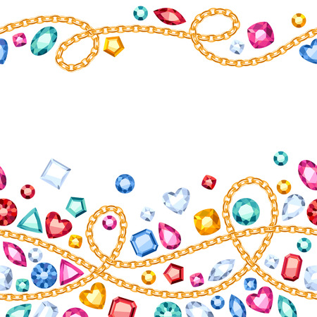 emerald gemstone: Seamless horizontal gemstones and chains pattern. Jewels pattern.