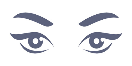 lady's: Beautiful ladys eyes - simple flat style illustration. Part of womans face. Illustration