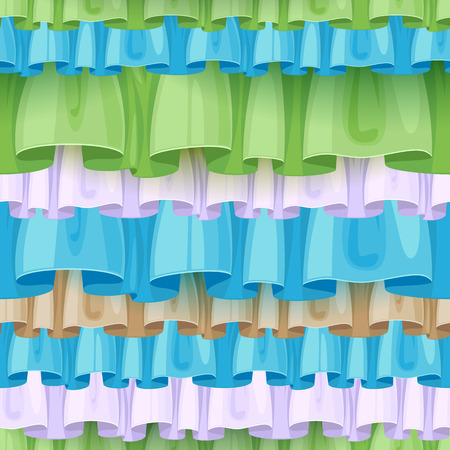 frill: Colorful ruffles seamless pattern. Frills background - green, blue, white, beige.