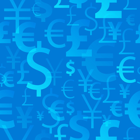 Currency symbols seamless pattern - blue color. Dollar, euro, yean and pound icons.