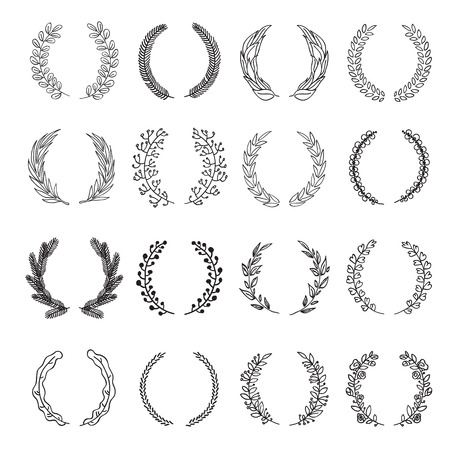 glory: Set of vector laurel wreaths. Vintage designs. Leaves and branches round frames. Hand drawn sketch style.
