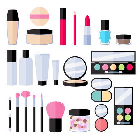 eyeliner: Make-up flat icons set. Vector illustration. Illustration