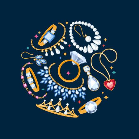Artículos de joyería de fondo oscuro. Composición Center. Anillos, pendientes, perlas y piedras preciosas.