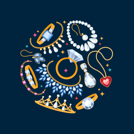diamond ring: Jewelry items dark background. Center composition. Rings, earrings, pearl beads and gemstones. Illustration