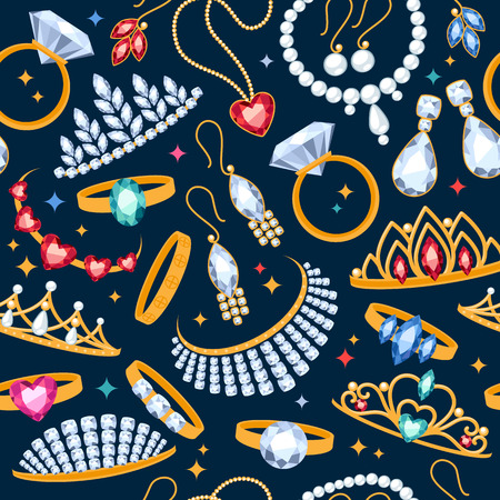 Jewelry items seamless dark background. Pattern with rings, earrings, pearl beads and gemstones.
