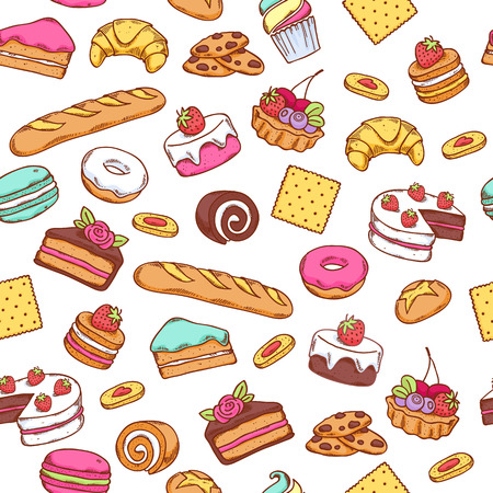 Seamless baked sweet food pattern. Cake, cookie, bread, donut background. White back.