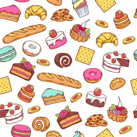 TORTA: Patr�n de dulce al horno sin fisuras de los alimentos. Pastel, galletas, pan, fondo rosquilla. Blanco de vuelta.