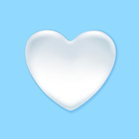 blotch: Milk, yogurt or cream splash shaped in heart form. White blotch.