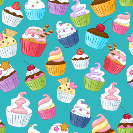 green back: Seamless cupcakes pattern. Colorful background. Green back.
